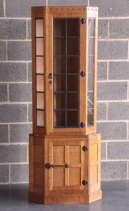 mouseman glazed corner display cabinet