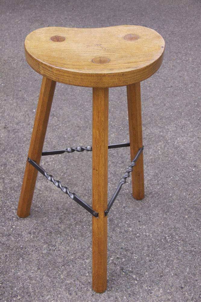 Albert Eagleman Jeffray 3 Legged Oak High Bar Stool