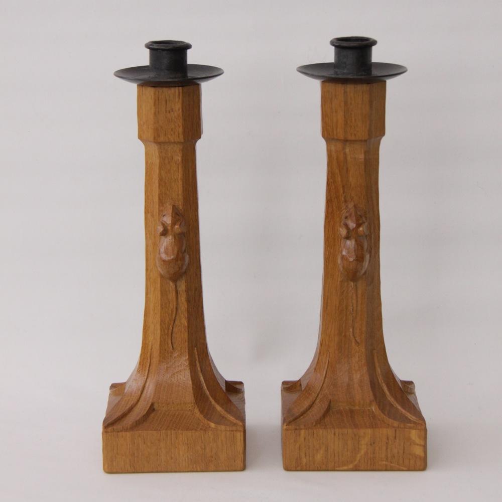 Robert Mouseman Thompson Oak Pair Of Candlesticks