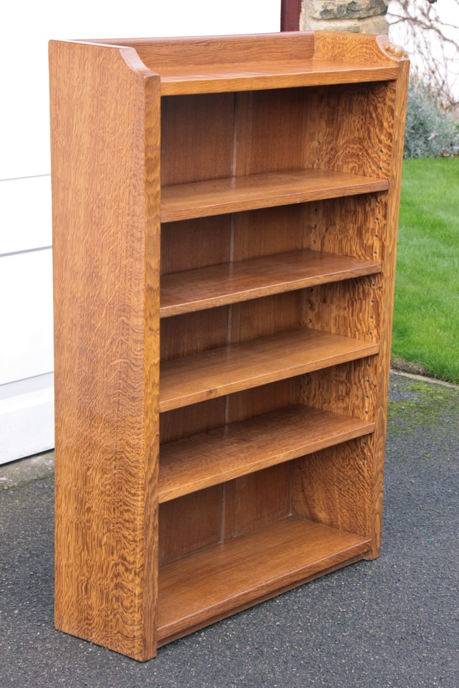 Complete Full Bookcase Daybed With Storage Benchmark Full: Robert Thompson 'Mouseman' 4' Adzed Oak Bookcase