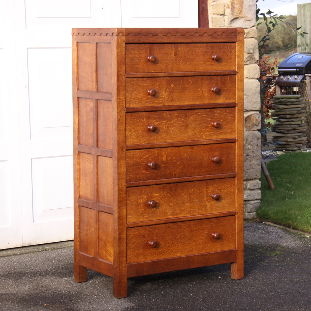 robert thompson mouseman oak 6 drawer tall chest of drawers. Black Bedroom Furniture Sets. Home Design Ideas