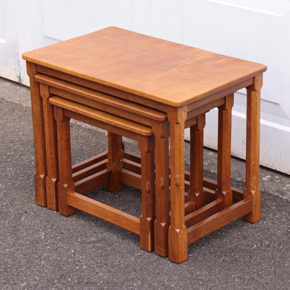 Robert 'Mouseman' Thompson Oak Nest of Tables
