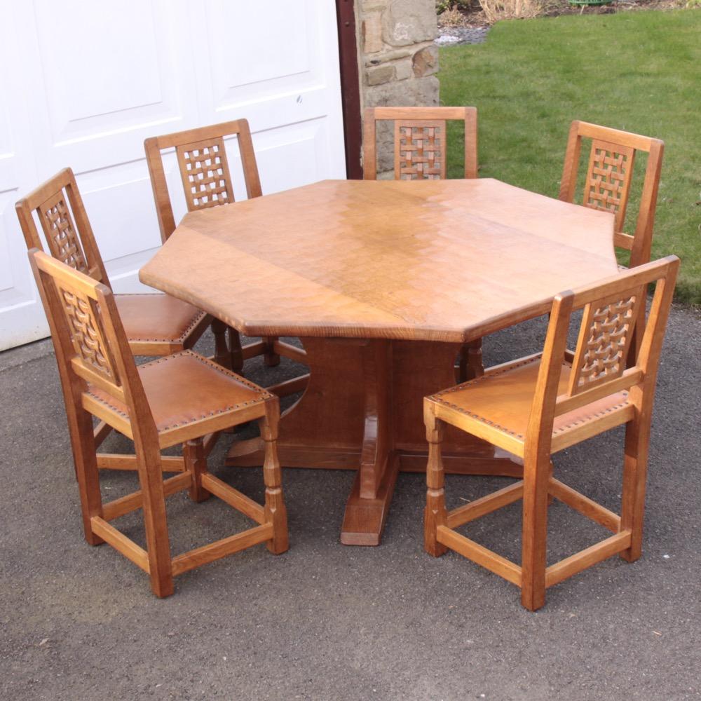 Sid Pollard Octagonal Oak Dining Table and 6 Chairs : 01 sid pollard oak dining set from davidsiddallantiques.com size 1000 x 1000 jpeg 259kB