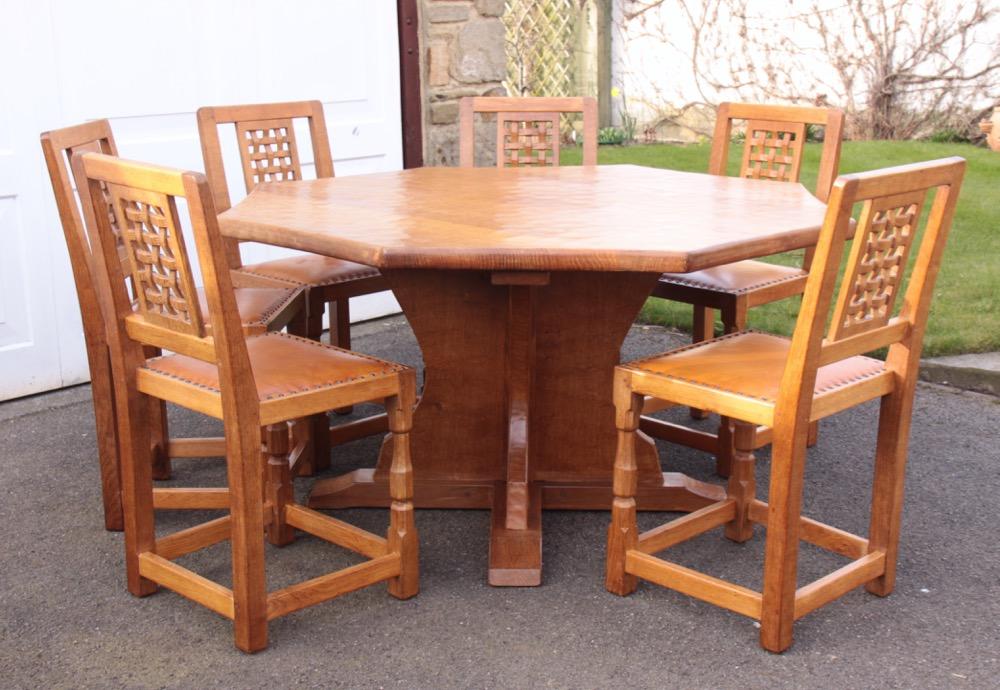 Sid Pollard Octagonal Oak Dining Table and 6 Chairs : 04 from davidsiddallantiques.com size 1000 x 690 jpeg 199kB