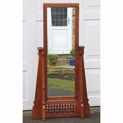 Robert Thompson 'Mouseman' Rare Early Oak Cheval Mirror