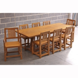 Robert Thompson 'Mouseman' 7' Oak Dining Set & 8 Chairs