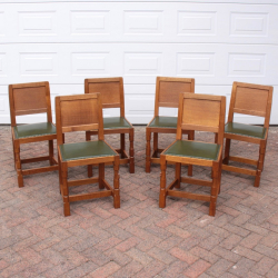 'Mouseman' Robert Thompson, Set of 6 Oak Panel Back Dining Chairs