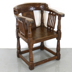 Robert 'Mouseman' Thompson 1920s Oak Monk's Chair