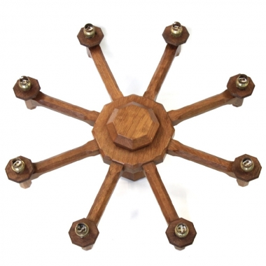 Sid Pollard 8 Branch Oak Ceiling Chandelier