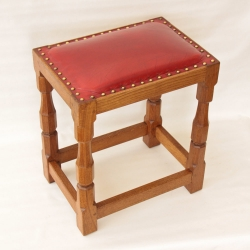 Sid Pollard Yorkshire Oak Leather Topped Dressing Stool