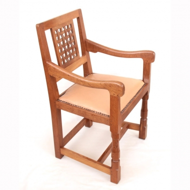 Robert 'Mouseman' Thompson Oak Lattice Backed Armchair