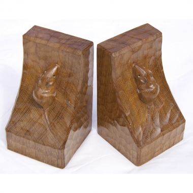 Robert 'Mouseman' Thompson Matched Pair of Oak Bookends