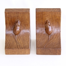 Robert 'Mouseman' Thompson Oak Bookends