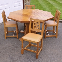 "Robert Thompson 'Mouseman' Oak 4'6"" Octagonal Dining Set"