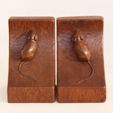 Robert Thompson 'Mouseman' Vintage Oak Bookends