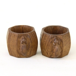 Robert 'Mouseman' Thompson Pair of Early Oak Napkin Rings