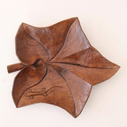 Martin Dutton 'Lizardman' Oak Leaf Carved Dish