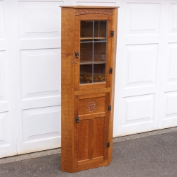 Thomas 'Gnomeman' Whittaker Oak Glazed Corner Cabinet