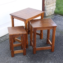 Robert Thompson 'Mouseman' Oak Early Nest of 3 Tables
