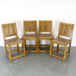 Brian Haw, ex 'Mouseman' Set of 4 Oak Dining Chairs