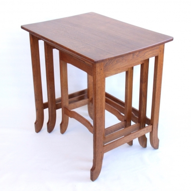 James C Dent Oak Nest of Tables, ex SWD Craftsman