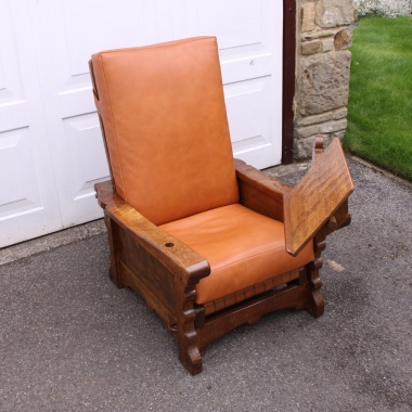 Robert Thompson 'Mouseman' Early Oak Reclining Reading Chair and Lecturn