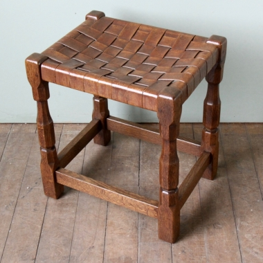 Sid Pollard Large Oak / Leather Stool