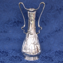Art Nouveau Silvered Vase, by J.R. Hannig for Dautzenberg (Germany)