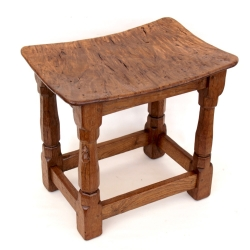 Robert 'Mouseman' Thompson Burr Oak Dished Stool