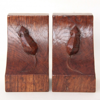 Robert Thompson 'Mouseman' Early Pair of Bookends