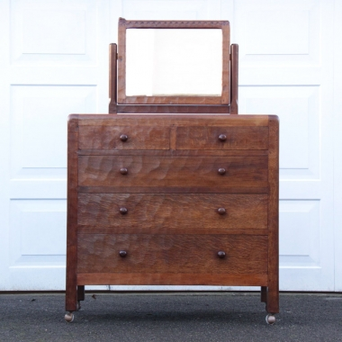 Robert Thompson 'Mouseman' Rare Early Dressing Chest with Mirror