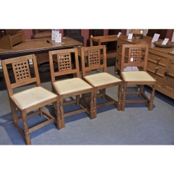 Robert 'Mouseman' Thompson, 4 Oak Dining Chairs