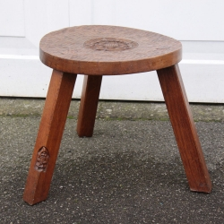 Thomas Whittaker 'Gnomeman' Oak 3 Leg Cow Stool
