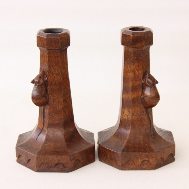 "Robert Thompson 'Mouseman' Pair of Early 6"" Oak Candlesticks"