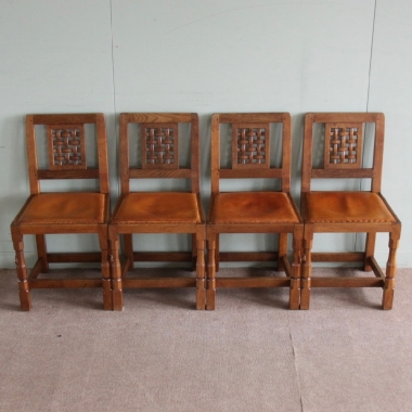 Robert 'Mouseman' Thompson Set of 4 Lattice Back Dining Chairs