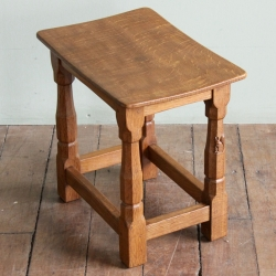 Wilf 'Squirrelman' Hutchinson Oak Dished Stool