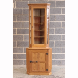 Derek Slater 'Lizardman' Oak Tall Glazed Corner Display Cabinet