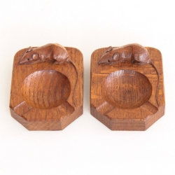 Robert 'Mouseman' Thompson Pair of Oak Ashtrays