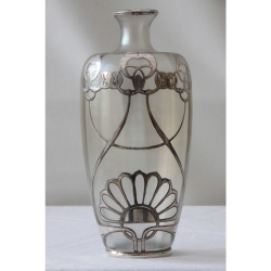 Loetz Silver Overlaid & Iridescent Glass Vase.