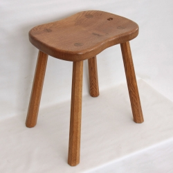 "Malcolm Pipes 'Foxman' 17 1/2"" Oak 4 Leg Cow Stool"