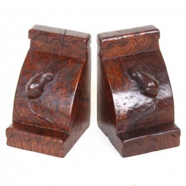 Robert 'Mouseman' Thompson Rare Early Burr Oak Bookends