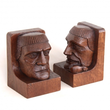 Robert 'Mouseman' Thompson Bespoke Monks Head Bookends