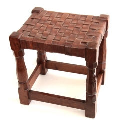 Robert 'Mouseman' Thompson Early Leather Topped Oak Stool