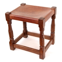 "Robert 'Mouseman' Thompson Early 18"" Leather Stool"