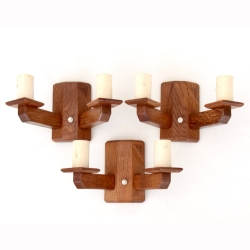 Robert 'Kingpost' Ingham Set of 3 Oak Double Wall Lights