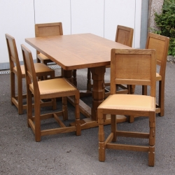 'Mouseman' Robert Thompson, 5' Oak Dining Table and 6 Chairs