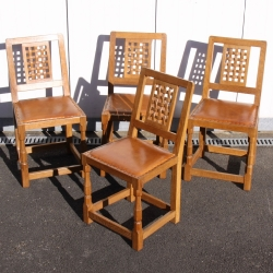 Sid Pollard 'Ex Mouseman' Set of 4 Lattice Back Dining Chairs