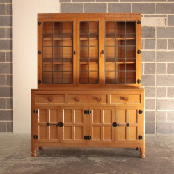 Malcolm Pipes 'Foxman' Oak 5' Glazed Display Dresser