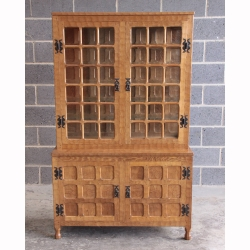 Sid Pollard Adzed Yorkshire Oak Glazed Display Cabinet