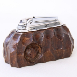 Robert Thompson 'Mouseman' Burr Oak Ronson Table Lighter